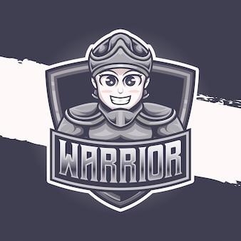 Esport logo schattig ridder krijger karakter icoon