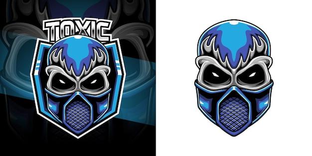 Esport logo schedel gasmasker Premium Vector
