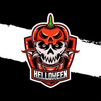 Esport logo schedel halloween karakter icoon