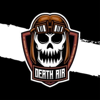 Esport logo schedel lucht karakter icoon