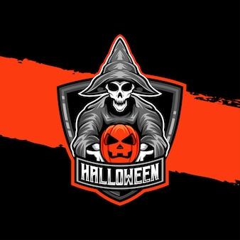 Esport logo tovenaar halloween lucht karakter icoon