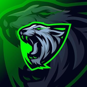 Esport-logo van tijgermascotte