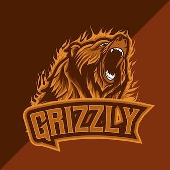 Esport logo whit grizzly karakter pictogram