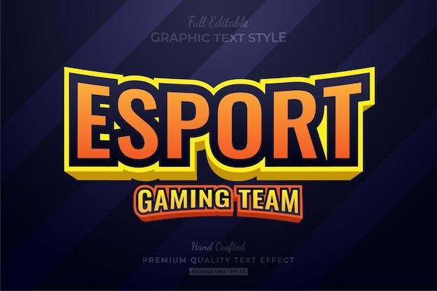 Esport oranje teksteffect bewerkbare premium-lettertypestijl