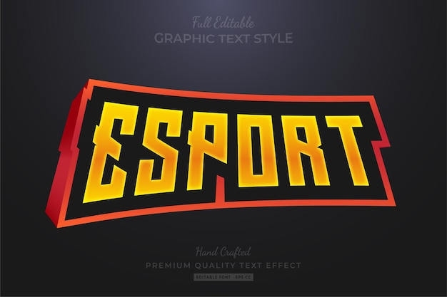 Esport team 3d bewerkbare teksteffect lettertypestijl