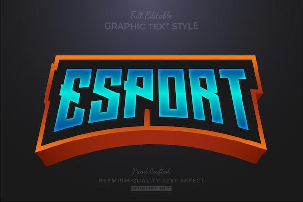 Esport team gradient blauw oranje bewerkbaar teksteffect lettertypestijl