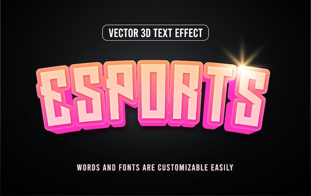 Esports gaming neon 3d bewerkbaar tekststijleffect