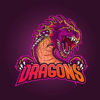 Esports mascotte logo, illustratie draak mascotte