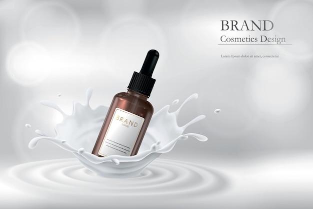Essentie voor de huid in melkspatten. illustratie met een realistisch beeld van cosmetica.