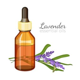 Essentiële olie van lavendel in glazen fles met pipet.