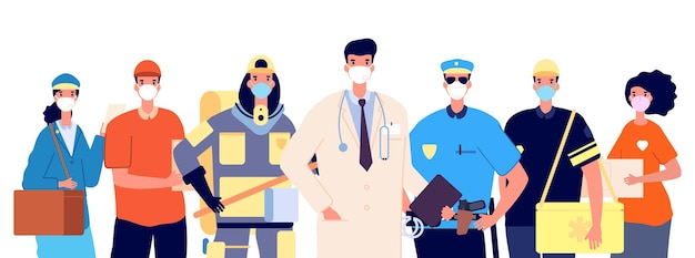 Essentiële werkers en frontliners. dokter politieagent brandweerman bezorgservice en vrijwilliger in beschermende maskers. geïsoleerde platte professionals werkten virus pandemische tijd vectorillustratie