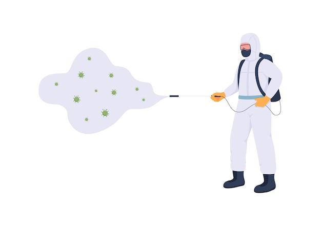 Essentiële werknemer in bescherming uniform egale kleur gezichtsloos karakter gezondheidszorg sanitair desinfectie tijdens virusepidemie geïsoleerde cartoon afbeelding