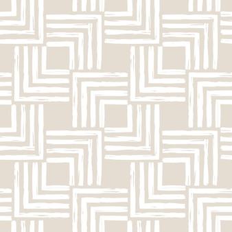 Esthetisch hedendaags afdrukbaar naadloos patroon met abstracte minimale vormen en lijn in naakt