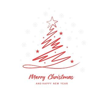 Esthetisch kerstboomlijnkaartontwerp a
