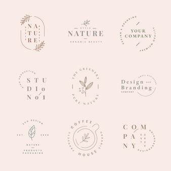 Esthetisch mode-logo, zakelijke sjabloon voor branding vector ontwerpset