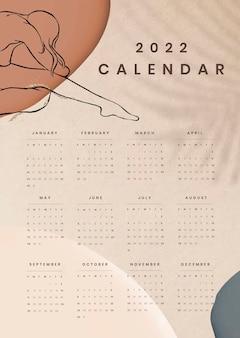 Esthetische 2022 maandelijkse kalendersjabloon, vrouwelijk lichaam vector