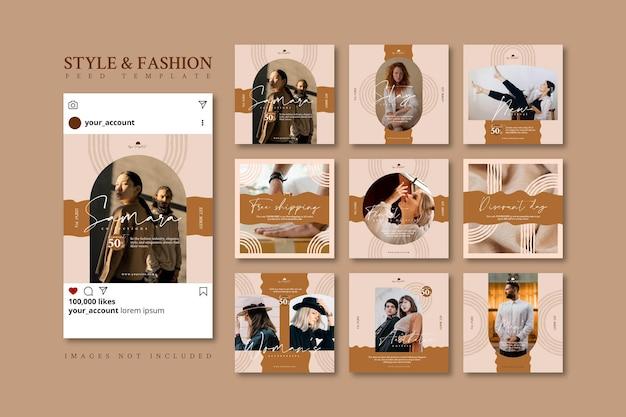 Esthetische beige mode-bedrijf sociale media feed postsjabloon