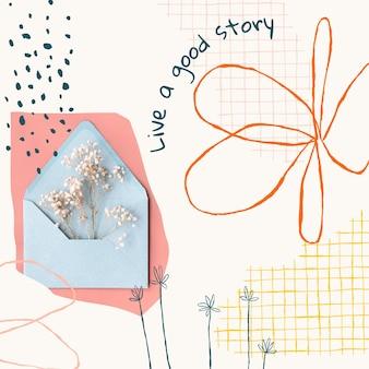 Esthetische bloemen bewerkbare sjabloon social media post met inspirerende quote en foto