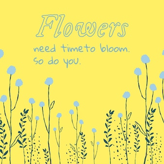 Esthetische bloemen bewerkbare sjabloon social media post met inspirerende quote