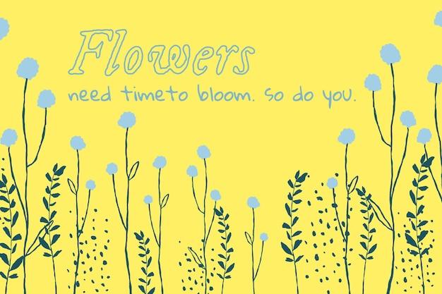 Esthetische bloemenbannersjabloonvector met inspirerend citaat