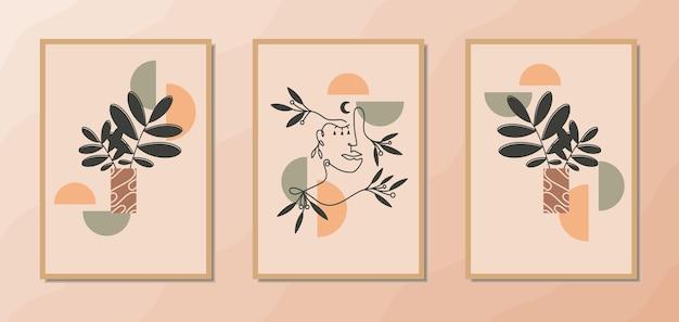 Esthetische boho-muurkunstposters met vrouwelijke lijnkunstportret bloemendecoratie en geometrische vorm
