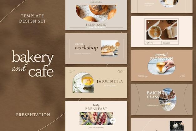 Esthetische café marketing sjabloon vector presentatie set