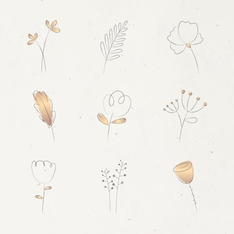 Esthetische doodle bloem ingesteld op beige achtergrond