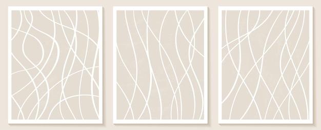 Esthetische eigentijdse sjablonen met abstracte vormen en lijnen in nude kleuren