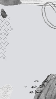 Esthetische frame mobiele wallpaper achtergrond vector, memphis design