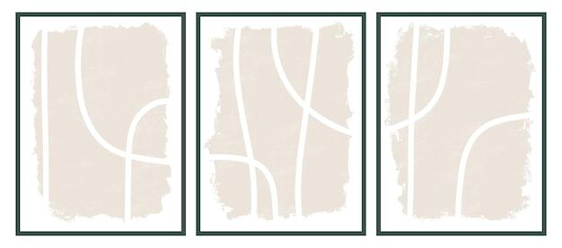 Esthetische hedendaagse afdrukbare sjablonen met abstracte lijnen, penseelstreekvormen en lijnen in nudekleuren. pastel boho achtergrond in minimalistische stijl van het midden van de eeuw vector illustratie wall