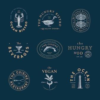 Esthetische logosjabloon voor restaurantset, geremixt van kunstwerken in het publieke domein