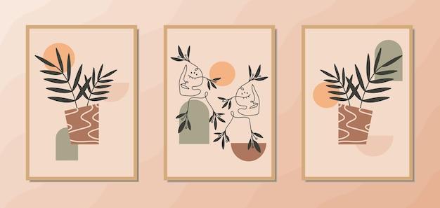 Esthetische moderne muurkunstposters uit het midden van de eeuw met een portret van tweelingvrouwen en geometrische vormen