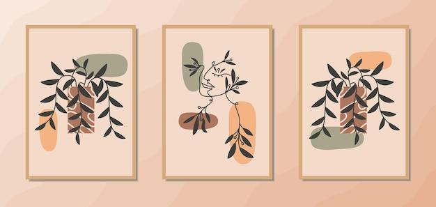 Esthetische moderne muurkunstposters uit het midden van de eeuw met portret van vrouwenlijnkunst en bloemendecoratie