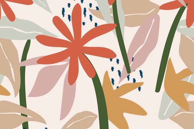 Esthetische natuur achtergrond, beige naadloze patroon vector
