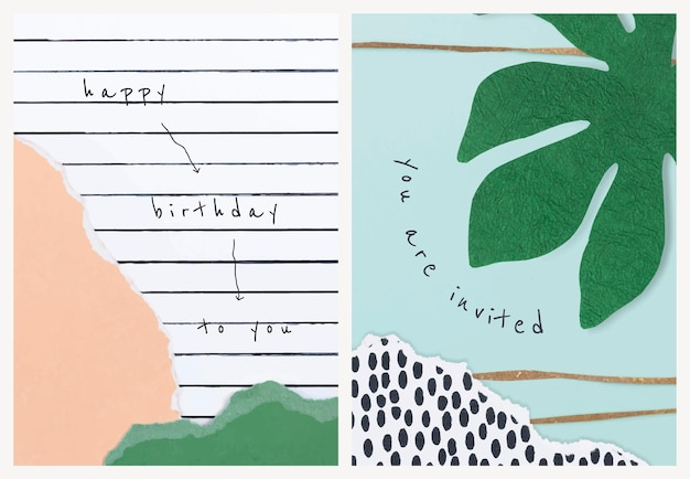 Esthetische papier collage sjablonen vector voor uitnodigingskaart