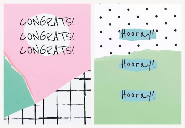 Esthetische papier collage sjabloon vector voor uitnodigingskaart