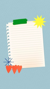 Esthetische papieren notitie achtergrondbehang vector
