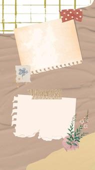Esthetische papieren notities achtergrondbehang vector