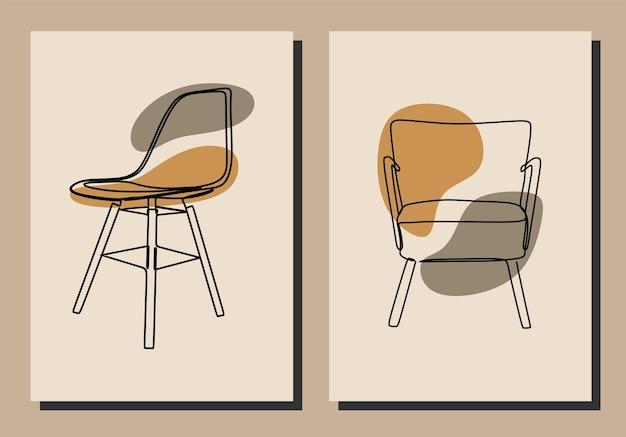 Esthetische stoel oneline doorlopende lijn kunst premium vector