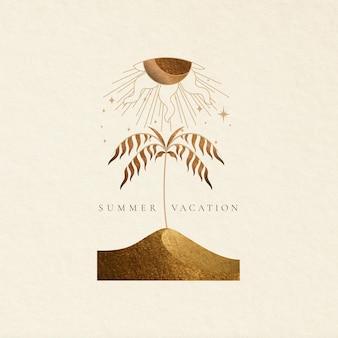 Esthetische vakantie thema badges met zomervakantie illustratie