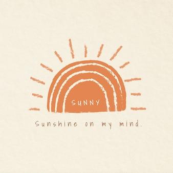 Esthetische vakantie thema badges met zonnige typografie illustratie zonneschijn in mijn gedachten