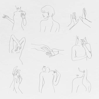 Esthetische vrouw lichaam vector lijntekeningen minimale grijswaarden tekeningen set