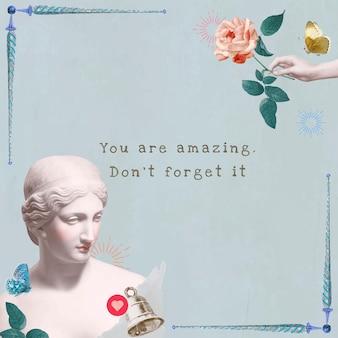 Esthetische zelfliefde sjabloon quote social media remix