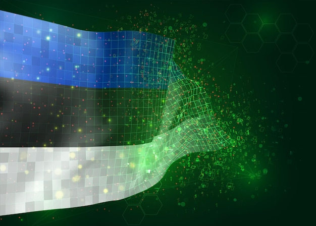 Estland, op vector 3d-vlag op groene achtergrond met veelhoeken en gegevensnummers
