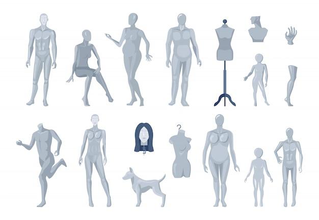 Etalage en selectie van mannequins op maat