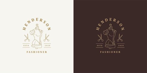 Etalagepop en schaar logo sjabloon lineair