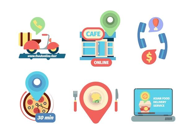 Eten bestellen icoon. zakelijke levering van restaurant bellen bestelling producten vector concept platte foto's. illustratie restaurant eten mobiel online bestellen en bezorgen