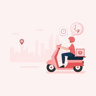 Eten bestellen, snelle levering illustratie