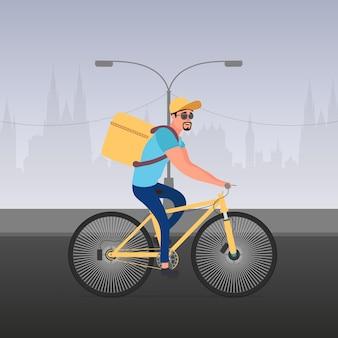 Eten bezorgen op de fiets. de man op een fiets rijdt in het park. fiets levering concept. vector voorraad illustratie.