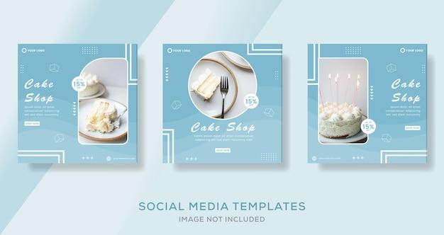 Eten cake menu banner voor social media template post premium